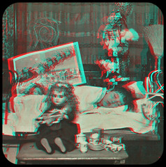 The Child's Dream. 1892 anaglyph 3D (depthandtime) Tags: santa christmas old vintage found toys stereoscopic stereophotography 3d antique 19thcentury victorian anaglyph photographic stereo card presents views stereoview stereograph foundphoto nineteenthcentury 1890s 1892 anaglyphic stereographic redcyan underwoodunderwood strohmeyerwyman