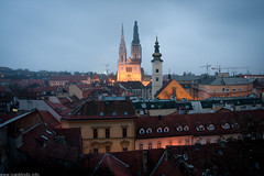 Panorama from Zagreb (Ivan Klindi) Tags: street blue roof winter panorama church canon catholic cathedral croatia zagreb hour f4 1740 40d