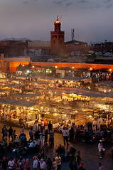 Morocco - Marrakech - Jemaa el-Fnaa - Food stalls at night (Darrell Godliman) Tags: africa city travel copyright rooftop square cityscape view market northafrica dusk minaret mosque busy morocco maroc marrakech marrakesh allrightsreserved foodstalls chaotic jemaaelfna travelphotography bustling cafedefrance instantfave omot flickrelite dgphotos darrellgodliman wwwdgphotoscouk ©dgodliman moroccomarrakechjemaaelfnaafoodstallsatnightdsc5496 wwwfacebookcomdsgphotos