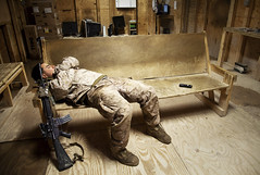 Rest for the Weary (United States Marine Corps Official Page) Tags: wood afghanistan bench sleep rifle tan couch service rest af 27 nato m16 weary usmarines oef isaf nowzad 2ndbattalion helmandprovince 7thmarineregiment jointoperationtaskforce
