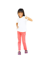 Full length of young asian girl showing thumbs up (Patrick Foto ;)) Tags: portrait people woman white cute girl beautiful beauty face up look childhood smiling female youth studio asian fun happy person kid toddler pretty child hand looking natural little sweet expression finger background small joy daughter young adorable happiness human thai innocence thumb positive lovely emotional cheerful ok success isolated approval caucasian clippingpath