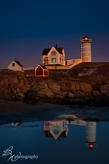 Nubble Holiday Lights (betty wiley) Tags: york holiday reflection lights coast maine downeast nubblelighthouse december2012 christmas2012 bettywiley avagracestudio