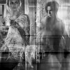 """K R A F T"" (helmet13) Tags: bw woman man reflection window promotion cafe raw power shopwindow windowshopping kraft aoi 100faves peaceaward d700 heartaward world100f"