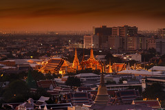 Landscape of Bangkok (anekphoto) Tags: city travel light sunset sky urban sculpture building tower art water beautiful architecture modern night skyscraper river landscape thailand temple gold golden boat town twilight construction ancient asia downtown king cityscape view traffic bangkok buddha background buddhist religion culture royal kingdom buddhism landmark palace thai infrastructure oriental residence wat siam