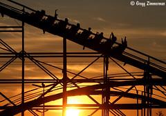 (Gregg Zimmerman) Tags: sunset sun fun amusement fairgrounds wooden ride fair entertainment rollercoaster 365 setting coaster puyallupfair img2053 westernwashingtonfair 365project canont2i