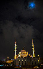 The New Mosque at Night with Moon in Istanbul Turkey (mbell1975) Tags: new city moon tower night turkey lights evening with türkiye istanbul mosque türkei imperial sultan ottoman horn cami turkish yeni türk the camii godlen valide