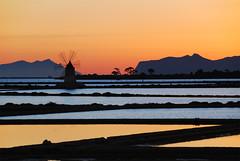 Saline Ettore e Infersa - Marsala - Sicilia - Sicily (Giuseppe Finocchiaro) Tags: sunset orange windmill nikon tramonto sicily sicilia mulino arancione trapani marsala nikonflickraward