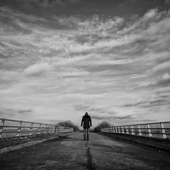Fyrsta (martinfowlie) Tags: bridge sky blackandwhite man clouds shadows cambridgeshire loner fyrsta hoodedman olafurarnalds lmort