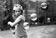 Bubbles (Kerrie McSnap) Tags: christmas portrait blackandwhite bw girl kids nikon child bubbles bubble christmasday d60