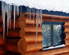 Icicles on Log Cabin (5of7) Tags: wood winter brown ice window wooden village serene fav icicles 1fav gamewinner challengewinner 15challenges thechallengefactory 3wins