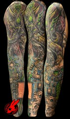 Cthulhu Bio-Mech Sleeve by Jackie Rabbit (Jackie rabbit Tattoos) Tags: city electric tattoo computer star virginia cool hp colorful pretty geek good board awesome great bio creepy roanoke va cthulhu lovecraft motherboard circuit sleeve geeky mech realistic jackierabbit