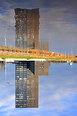 """Fawlty"" Towers....connecting people (powerfocusfotografie) Tags: holland tower netherlands architecture high flat geometry groningen tasman abeltasman henk pyramidal connectingpeople globular cuboid nikond90 powerfocusfotografie tasmantoren tasmantower"