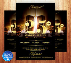Birthday / Anniversary Party Flyer (grandelelo) Tags: birthday new party white black club night gold golden flyer 1st anniversary champagne nye banner picture 2nd celebration invitation card age frame vip years 25th 50th 3rd classy 2013