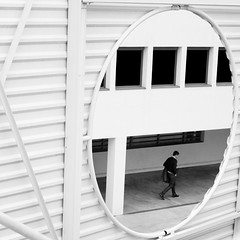 encircle (Thomas Leth-Olsen) Tags: windows white lines architecture stairs hole highkey antibes manwalking