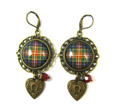 Ancient Romance Series - Scottish Tartans Collections - Black Stewart - Scotland Meets Texas Cowgirl Up Earrings