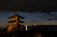 Yasaka-no-to and Kyoto Tower, Kyoto /  (Kaoru Honda) Tags: city winter sunset japan night landscape temple japanese evening town alley nikon kyoto traditional alleyway    gion       japon kiyomizudera  kodaiji  higashiyama        hokanji    d7000