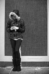 iPhoning (bumbii) Tags: uk england blackandwhite bw girl wall tile 50mm prime girlfriend mosaic portsmouth leggings iphone 50l canonef50mmf12lusm canoneos5dmarkii 5dmarkii 5d2 5dmkii 5dmk2 5dmark2