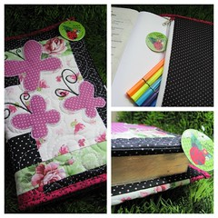 Capa de Bíblia/Agenda/ Livro com porta lápis! (Joana Joaninha) Tags: quilt capa borboleta patchwork amo biblia joanajoaninha