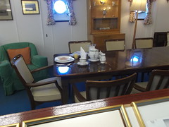 HMY Britannia 2.2.13 (Thomas S Cook) Tags: geotagged edinburgh yacht room finepix leith fujifilm dining hmy royalyacht brittania oceanterminal johnbrownshipyard 2213 hmybrittania jx250 2ndfebruary2013