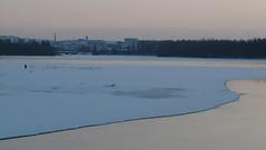 P1030280 (Kimmo Räisänen) Tags: winter snow colour ice water finland river fisherman dusk nordic oulu uleåborg