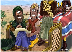 Acts 08 - Philip & the Ethiopian eunuch - Scene 03 - Instruction (Martin Young 42) Tags: horses reading bible driver isaiah philip scroll instruction chariot goodnews acts eunuch ethiopian evangelist reins ethiopianeunuch philiptheevangelist acts83137