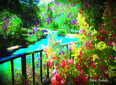 Sunny Pond (brillianthues) Tags: summer sun trees flowers floral nature pond colorful collage photography photmanuplation photoshop