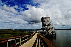 Observation Tower - Port Royal South Carolina (Meridith112) Tags: observationtower tower portroyal beaufortcounty bluesky clouds cloud boardwalk pier summer 2016 august wood stairs shadows shadow shade railing water river riverwalk batterycreek beaufortriver nikon nikon2485 nikond610