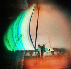 Ruinas del Hotel ilegalmente construido en la Playa del Algarrobico, Carboneras (Almera) (Solarigrafa / Diego Lpez Calvn) Tags: astronomy astronoma arteyciencia visualart alternativeprocess atmsfera atmosphere sky cielo clima diegolpezcalvn solarigraphy2010 proyectosolaris caminosdelsol suntrails suntrack sun sol landscape paisaje fotografa cabodegata ecologa ruina hotelilegal procesosalternativos fotografiaexperimental carboneras almera longexposure largaexposicin lensless estenopeica pinhole solargraphy solarigraphy solarigrafia