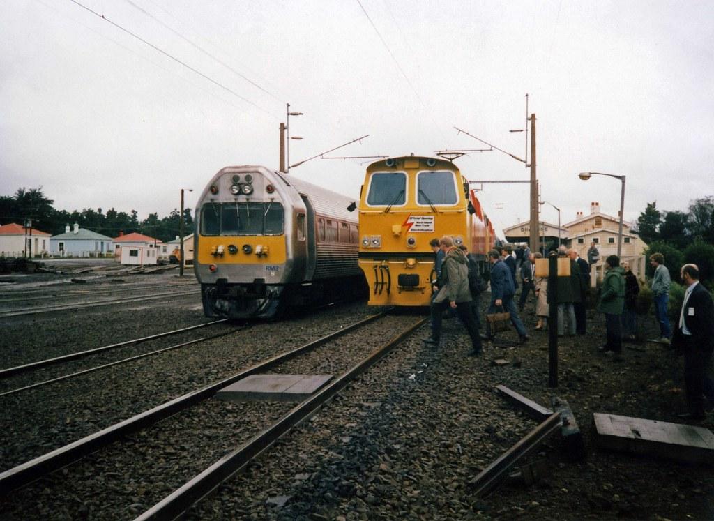 NZR RM3 and Class 30 30128 Ohakune Jun 1988 (TJM2012) Tags:  newzealandrailways nzr