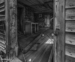 Screen Door Closer - BW (Pat Kavanagh) Tags: farmhouse abandoned farm saskatchewan prairies prairie homestead western canada blackandwhite bw