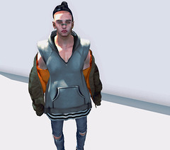 BOY (Levi Megadon // *OMG*) Tags: sl secondlife male mens men blog blogger style new mesh lotd look outfit ideas trend cool 2byte beanie hat dope unorthodox hair hairbase hxnor mandala piercings represent hoodie baggy street urban wear ripped denim skinny jeans pants fitted tight washed seul bomber jacket coat benjaminz sneakers sneaks hightops black