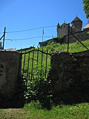 Castle at Gorges du Fier (AmyEAnderson) Tags: castle chateau gorgesdufier hillside hill barbedwire stone fence gate france europe alps spring wall countryside rhonealps
