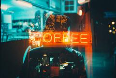 It says coffee. (Louis Dazy) Tags: 35mm analog film photography double exposure grain cinestill dark night low light coffee neon sign