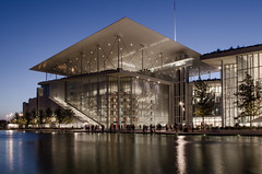 Stavros Niarchos foundation cultural center (.noctifer) Tags: athens architecture outdoor building water night greece greek mediterranean culture glass sky europe lights renzo piano renzopiano