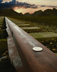 Do you? (ckat609) Tags: blender render cycles 3d field landscape railroad train track grunge grass sunset penny coin rust moss