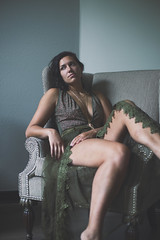 tess. (mAnd3rS1) Tags: pretty lady girl model fashion clothes interior indoors lighting beautiful furniture green blue tones jewelry delafield home dress lace