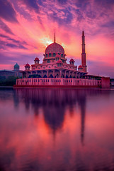 Putra Mosque (baljit_82) Tags: putra moque masjid masjidputra putramosque putrajaya malaysia wilayah sky reflection sunrise granite prayer prayers musim islam worship