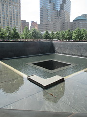 World Trade Center Memorial Fountains 2016 NYC 4364 (Brechtbug) Tags: memorial fountain lower manhattan 2016 nyc footprint world trade center wtc ground zero september 11 2001 downtown 911 new york city 2011 fdny public monument art fountains 08272016 foot print freedom tower today west skyscraper building buildings towers reflection pool water falls waterfalls wall walls pools tier tiered 15 years fifteen five