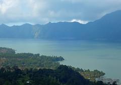Bali-Beautiful view of volcanic lake (ustung) Tags: breathtakinglandscape indonesia bali volcanic lake scenery landscape fishfarm nikon mountainside green fields