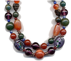 Carnelian, bloodstone, sodalite, amethyst, jade and glass beads with copper findings make up this necklace (elizabatz.jensen) Tags: jewelry carnelian bloodstone amethyst jade glass beads copper necklace earring set