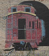 Train Painting in Pullman, WA (zizoufrey) Tags: 2016 jpf palousetrip pullman washington palouse train wallpainting