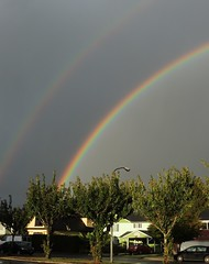 Double Rainbow 180 (How.I.E) Tags: prism color rain shower dusk sunset west coast beautiful nice wow cool neat awesome great fab real it sky clouds storm light purple red yellow