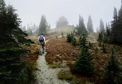 Mt Brown Lookout - Glacier National Park (Bruce Lemons) Tags: glaciernationalpark hiking backpacking montana tunnel snow trail mtbrown lakemcdonald mark lookout fog mist