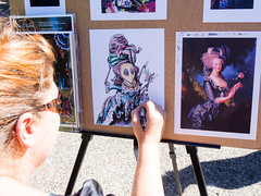 Celeste Jacobi, Creatrix Realms, doing a live drawing of a Queen Bee inspired by the classic Queen Marie Antoinette (marketkim) Tags: marketeers newproduct eugene oregon saturdaymarket festival artfair eugenesaturdaymarket artfestival