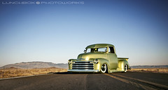 '49ChevyFrontStance (Lunchbox PhotoWorks) Tags: new baby moon mountain west green chevrolet mexico nikon albuquerque tokina abq d200 lunchbox nm lowrider lowered mesa 1949 505 sandia 1224 manfrotto slammed stance 3100 575 airbags vocano stepside photoworks