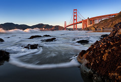 The Great Gate (mikeSF_) Tags: ocean california county bridge sunset seascape beach mike landscape golden gate san francisco rocks waves baker pacific pentax marin lincoln headlands marshalls penninsula limited sausalito presidio k5 oria da15