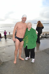 Irish Polar Bear Swimmer, Theresa Irene Wolowski, at Liscannor Bay Beach in Lahinch Village in County Clare, Ireland (RYANISLAND) Tags: county ireland irish beach town europe clare european village beaches spandex speedos lahinch countyclare beachtown irishvillage lehinch liscannorbay liscannorbaybeach