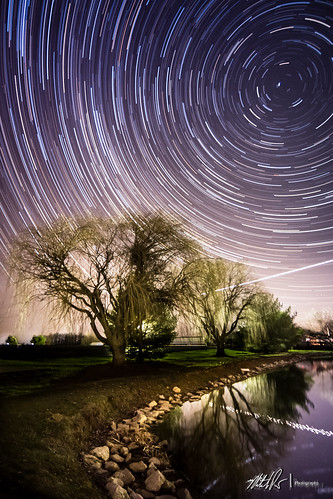 Star Trails and Shooting Star (Plane)