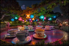 Mad Fantasy [Explore] (Coasterluver) Tags: night disneyland disney teacups matterhorn hdr fantasyland madteaparty andrewkirby coasterluver