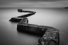 Coastal Defences (Billy Currie) Tags: sea stone wall concrete mono coast scotland long exposure harbour tide erosion ng tidal minimalist zigzag defence defend